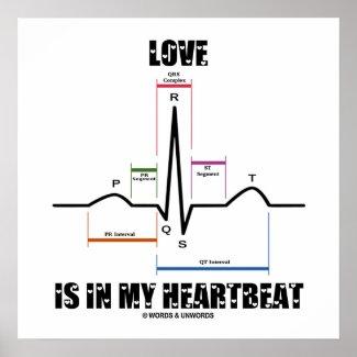 Love Is In My Heartbeat ECG EKG Electrocardiogram Poster