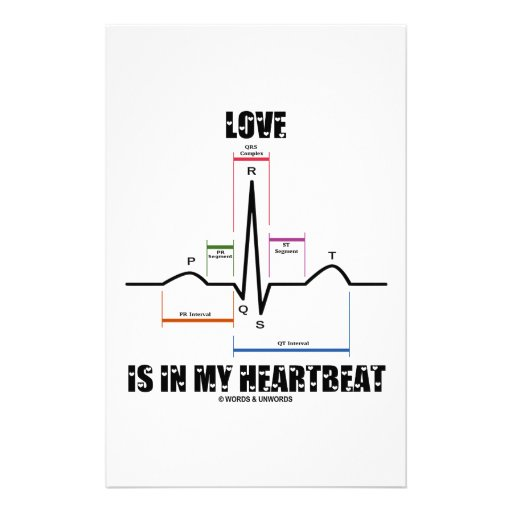 Love Is In My Heartbeat ECG EKG Electrocardiogram Customized Stationery