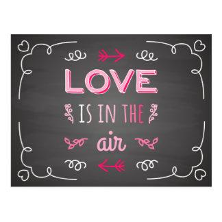 Love Is In The Air Black Chalkboard Postcard