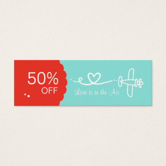 Love coupons business cards templates zazzle love is in the air coupon skinny business cards reheart Image collections