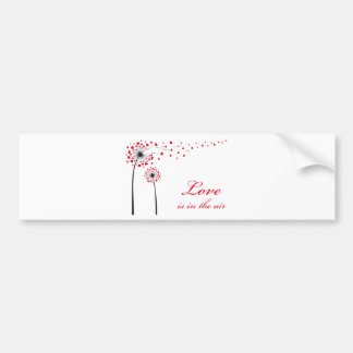 Love is in the air, dandelion with red hearts bumper sticker