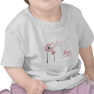 Love is in the air, dandelion with red hearts t shirts