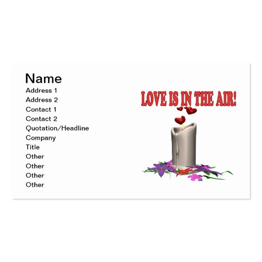 Love Is In The Air Double-Sided Standard Business Cards (Pack Of 100)