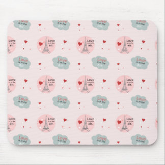 Love is in the air eiffel tower and hearts patter mouse pad