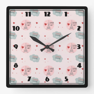 Love is in the air eiffel tower and hearts pattern square wall clock
