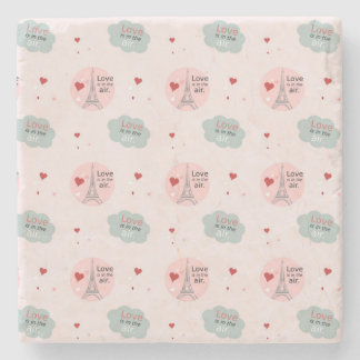 Love is in the air eiffel tower and hearts pattern stone coaster