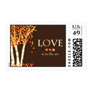 """Love is in the air"" Fall Wedding Invitation Stamp"