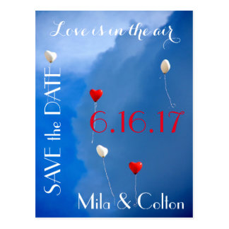"""Love is in the Air"" Heart Balloons Save the Date Postcard"