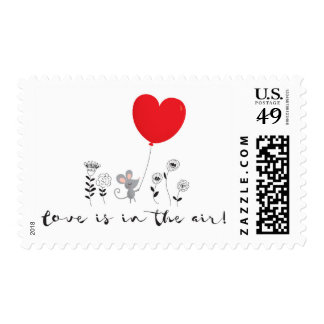 Love is in the air Little mouse Valentine postage