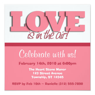 Love Is In The Air ~ Square Valentine's Day Invite