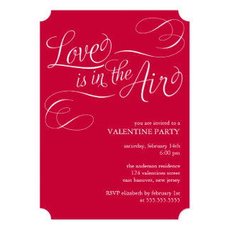 """""""Love is in the Air"""" Stylish Valentines Day Party 5x7 Paper Invitation Card"""