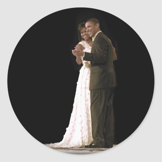 Love is in the Air, The First Couple Dancing Classic Round Sticker