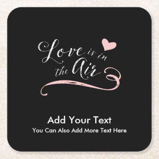 Love is in the Air - Valentine's Day or Wedding Square Paper Coaster