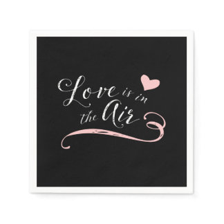 Love is in the Air -  Vintage Chalkboard Style Paper Napkin