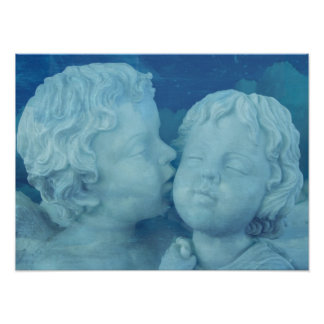 Love is in the Air, Vintage Stone Angels Kissing Poster