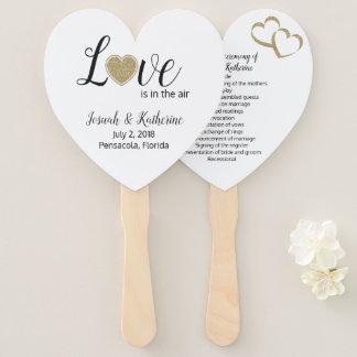 Love is in the Air Wedding Program Fan