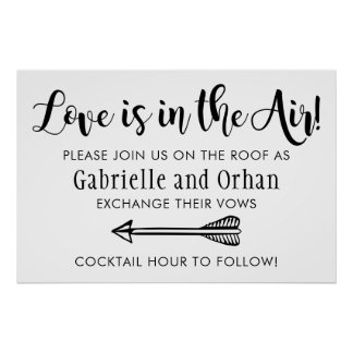 Love is in the Air Welcome Sign | Black Script