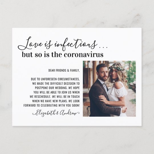 Love is Infectious Covid19 Photo Change the Date Announcement Postcard