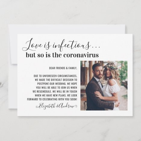 Love is Infectious Photo Change the Date Wedding Announcement