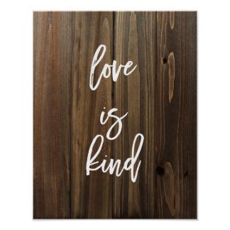 Love is Kind on Faux Wood | Poster