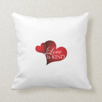 Love Is Kind Red Hearts- Cotton Pillow