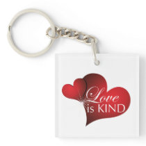 Love Is Kind Red Hearts Key Chain Square