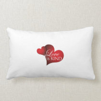Love Is Kind Red Hearts- Long Cotton Pillow