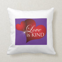Love Is Kind Red Hearts Purple- Cotton Pillow