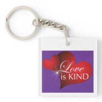 Love Is Kind Red Hearts Purple Key Chain Square