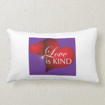Love Is Kind Red Hearts Purple- Long Cotton Pillow