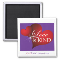 Love Is Kind Red Hearts Purple Magnet