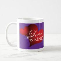 Love Is Kind Red Hearts Purple-Mug Coffee Mug