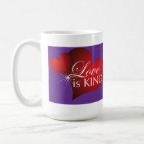 Love Is Kind Red Hearts Purple-Tall Coffee Mug