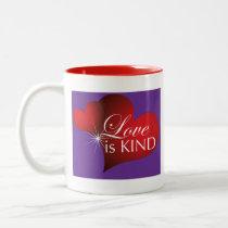 Love Is Kind Red Hearts Purple Two Tone Mug