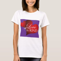 Love is Kind--Red Hearts Purple--White W T-Shirt