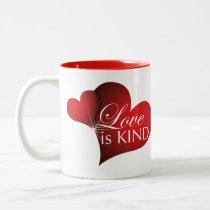 Love Is Kind Red Hearts Two Tone Mug
