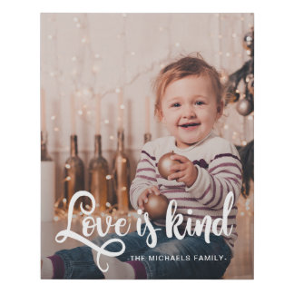 Love is Kind Script with Name and Photo Faux Canvas Print