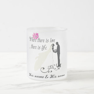 Love is life 10 oz frosted glass coffee mug