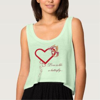 love is like a butterfly flowy crop tank top