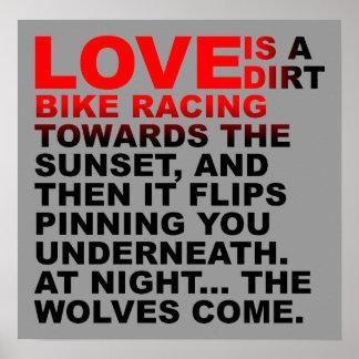 Love Is Like A Dirt Bike Motocross Poster Sign