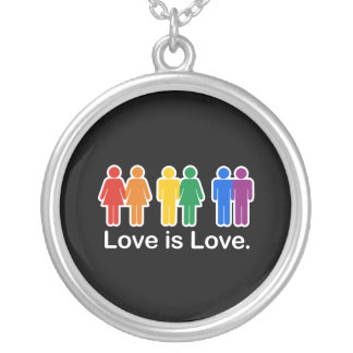 LOVE IS LOVE BASIC ROUND PENDANT NECKLACE
