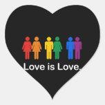 LOVE IS LOVE BLACK HEART STICKERS