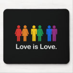 LOVE IS LOVE BLACK MOUSE PAD