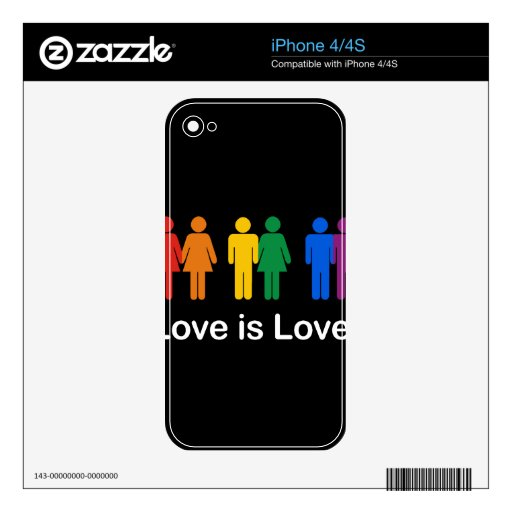 LOVE IS LOVE BLACK.png Decal For The iPhone 4
