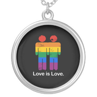 LOVE IS LOVE GAY COUPLE ROUND PENDANT NECKLACE