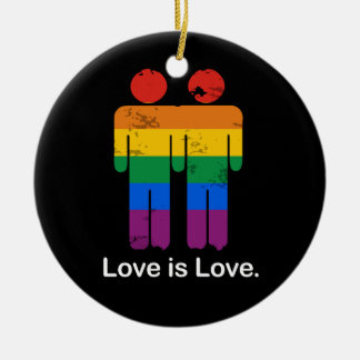 LOVE IS LOVE GAY COUPLE ORNAMENT