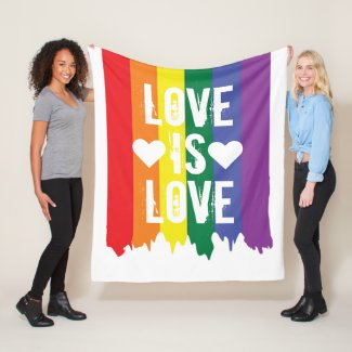 Love is Love Gay Pride LGBT Rainbow Fleece Blanket