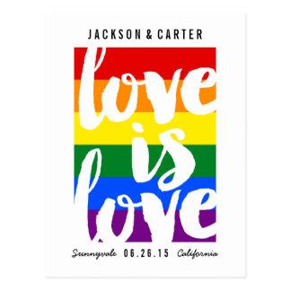 Love is Love Gay Pride Wedding Save the Date Card Postcard