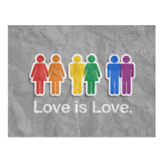 LOVE IS LOVE GREY POST CARDS