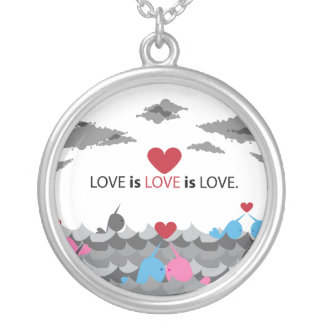 LOVE is LOVE is LOVE.  Narwhals Round Pendant Necklace
